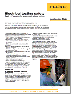 Electrical Testing Safety Part 1: Preparing for Absence of Voltage Testing