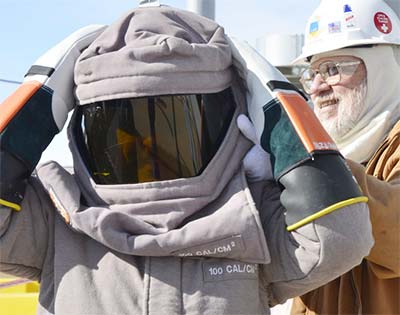 PPE helmet, face shield. Preventing eye injuries by Brian Hall, BCH Electrical Safety Consulting